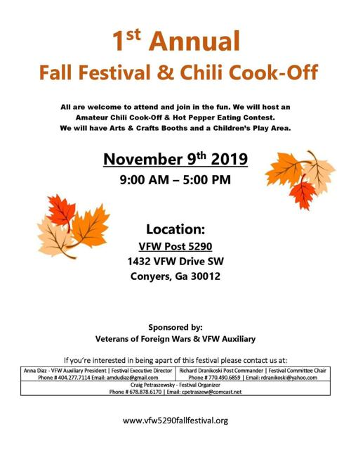 Conyers Fall Festival 2020.Veterans Of Foreign Wars Fall Festival And Chili Cook Off