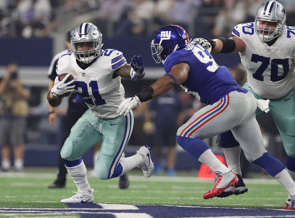 Ezekiel Elliott runs over Giants after stiff-arming Goodell