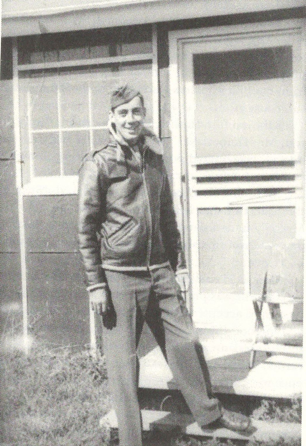 Richard Timberlake in front of his barracks in October of 1943.JPG
