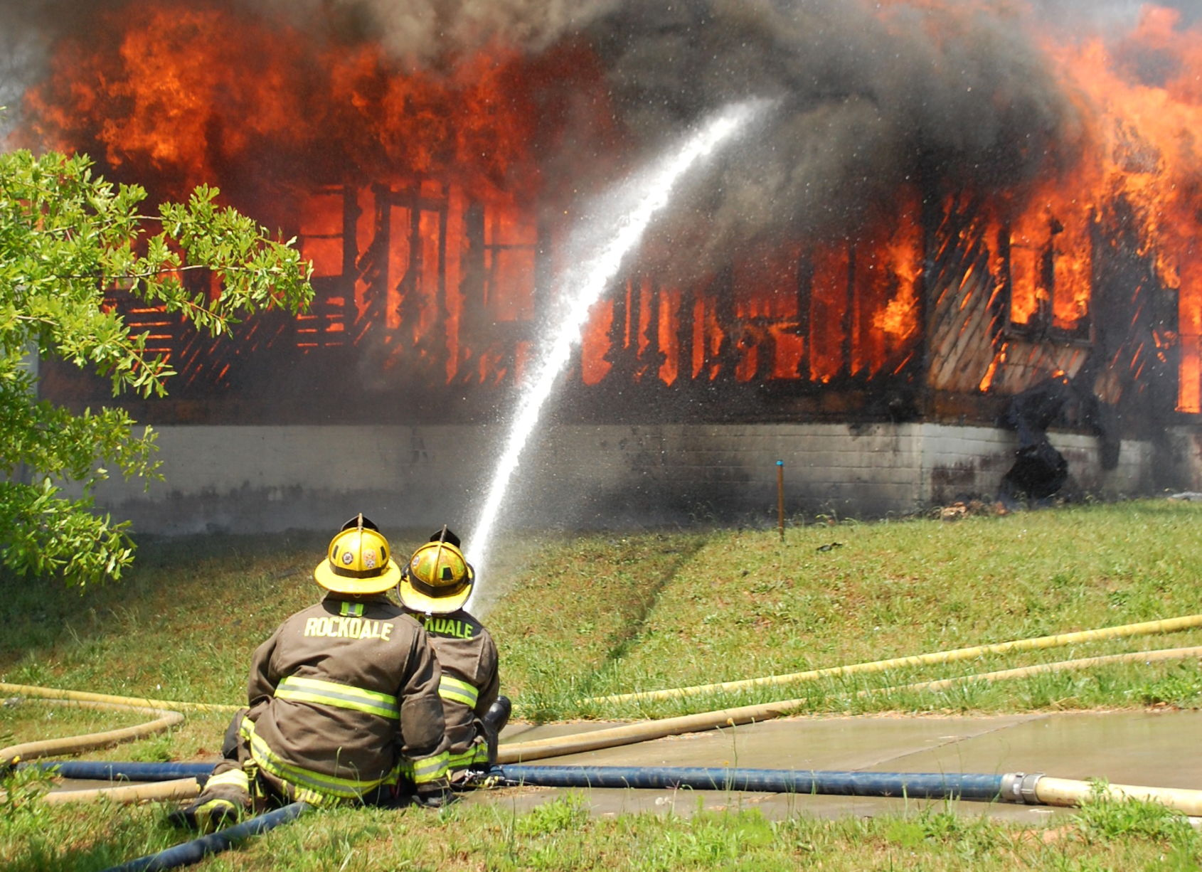 Rockdale firefighters burn donated houses for practice
