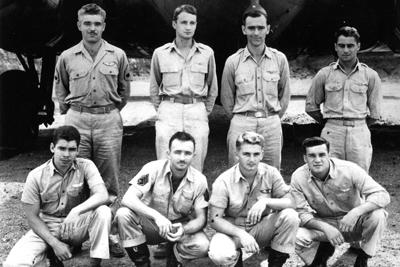 The Crew, top row, L to R, Bud Thues, Jay Zeamer, Hank Dyminski, Joe Sarnoski.  Front row, L to R, William Vaughn, George Kendrick, Johnnie Able, Forrest Dillman.,.jpg