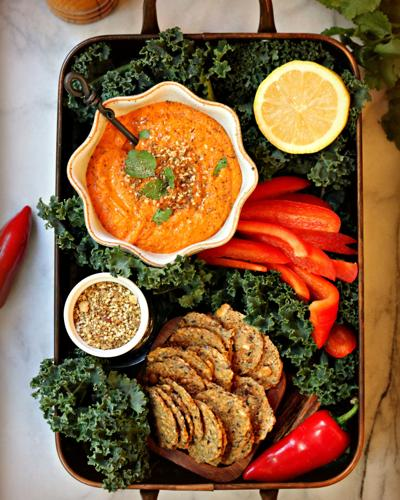 Smoky Red Pepper Hummus With Dukkah