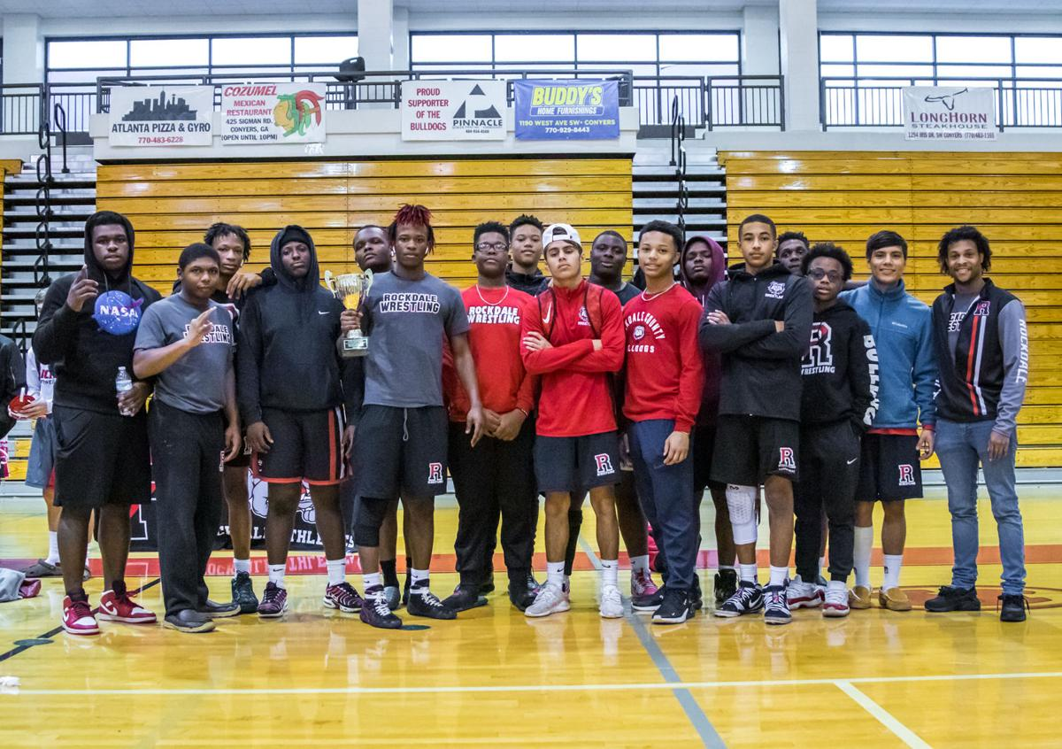 The Rockdale County wrestling team won its third consecutive 8-AAAAAAA area duals championship Saturday