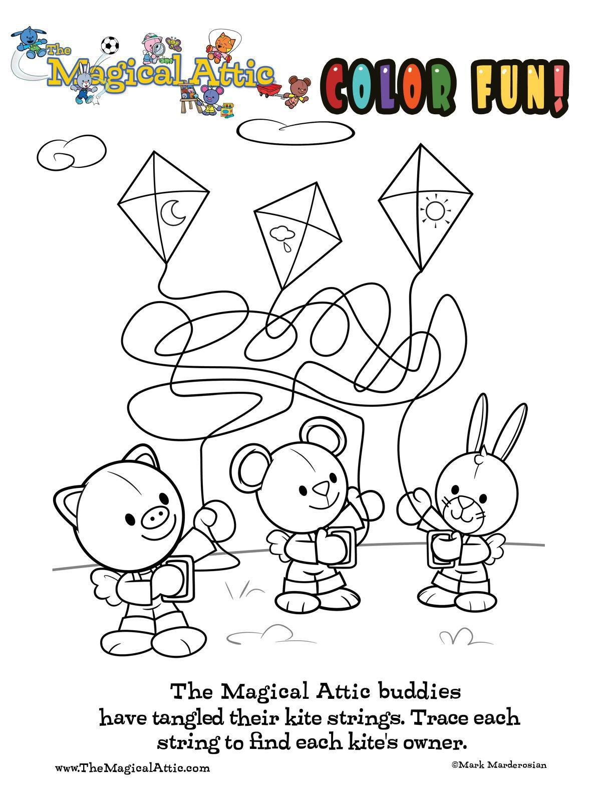 Coloring fun with kites