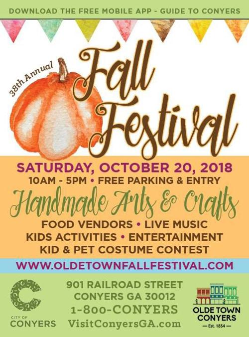 Conyers Fall Festival 2020.Olde Town Conyers 38th Fall Festival On Oct 20 Rockdale