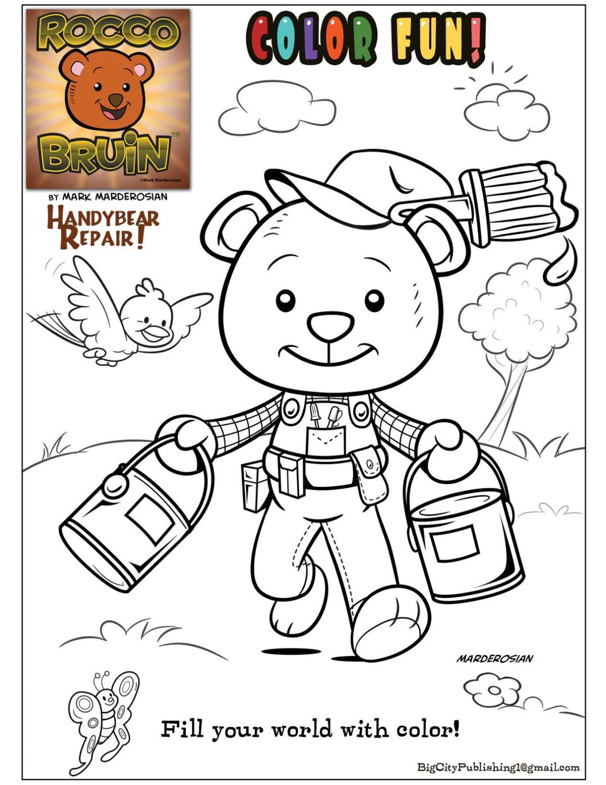 Coloring fun with Rocco Bruin