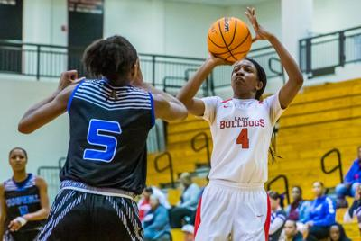 Rockdale's Lia Edwards shoots the ball against Campbell