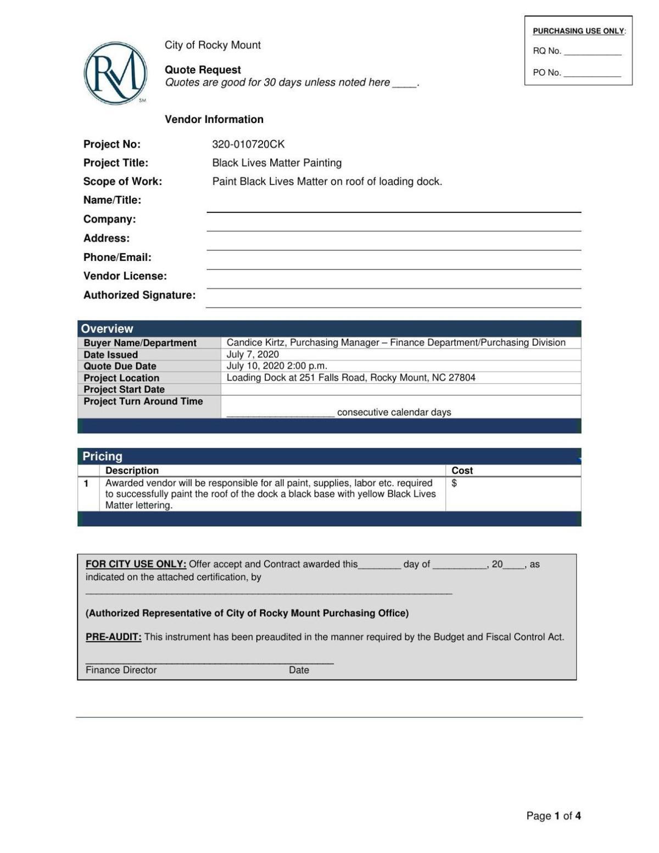 City of Rocky Mount document