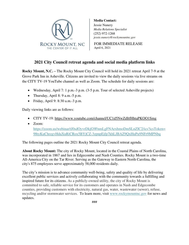 Updated Retreat Agenda