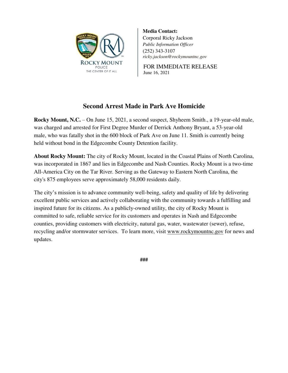 News release about second murder suspect