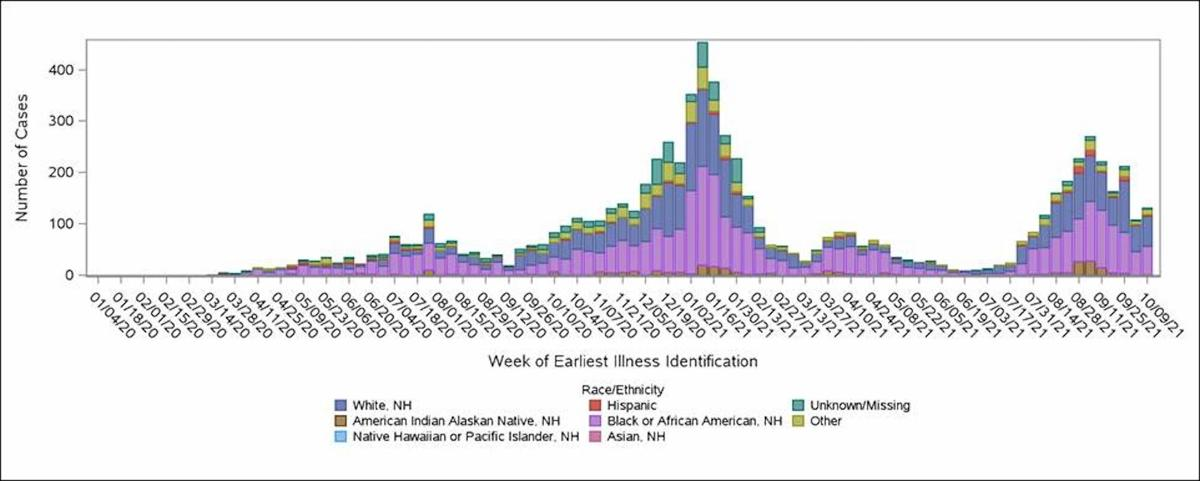 Cases by date of earliest illness identification and race/ethnicity