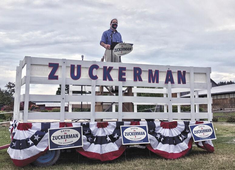 Lt. Gov. David Zuckerman campaigns with mask, 2020