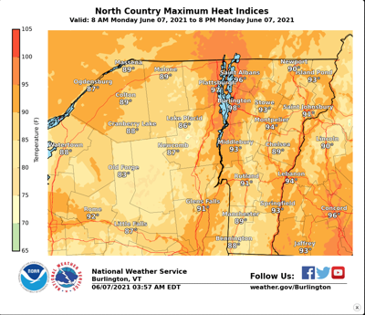 North Country Maximum Heat Indexes, Monday June 7th 2021