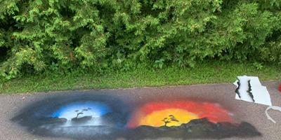 Art over graffiti Swanton Rec Path