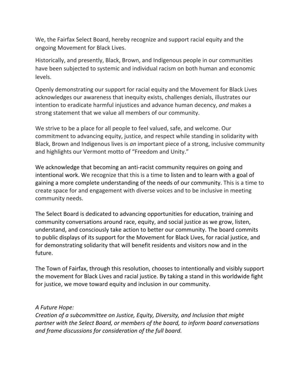 Black Lives Matter resolution, Fairfax, 10-19-2020