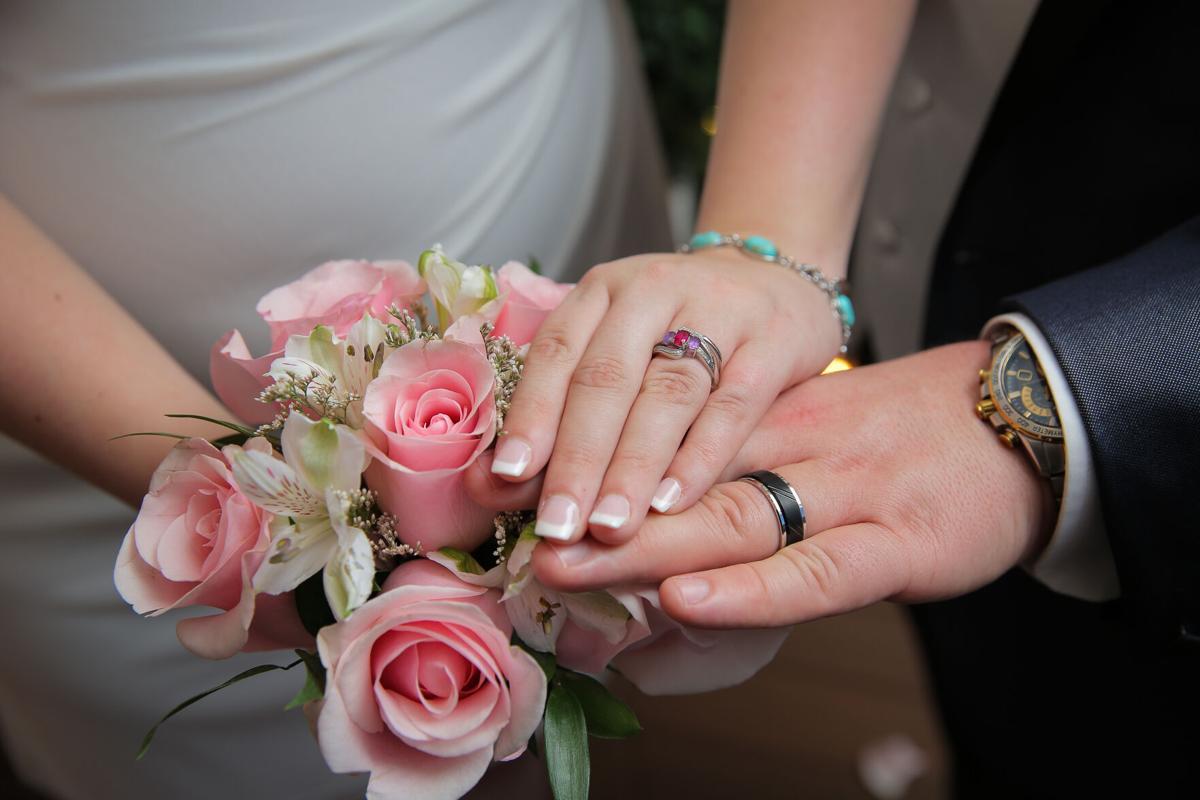 Generic wedding rings and flowers