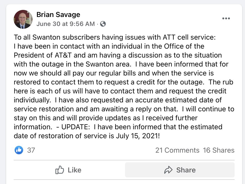 Brian Savage Facebook post