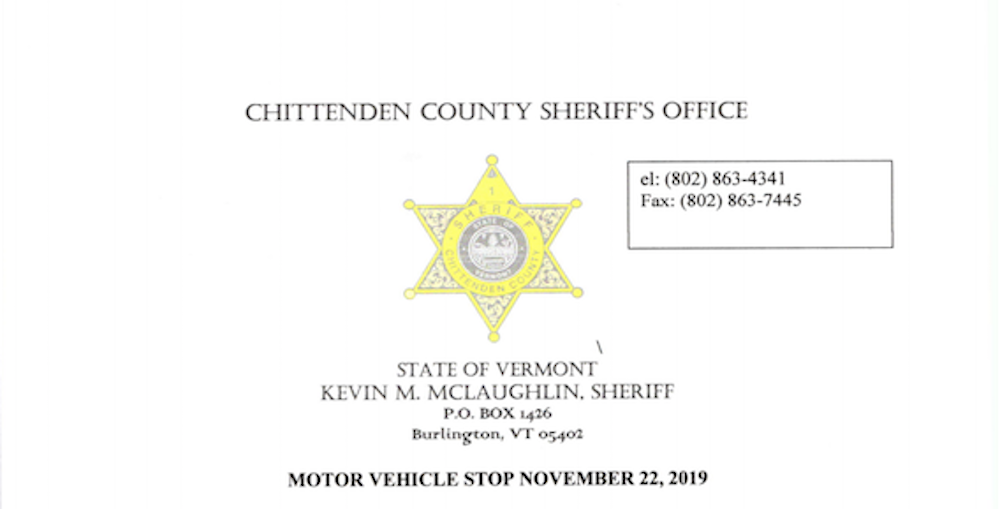 Chittenden County Sheriff's Department, 1-21-2020