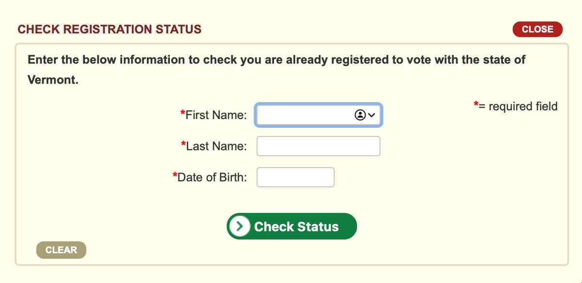 Vermont SOS Check voter status