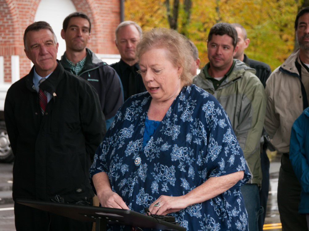 Vice chair of the Richford selectboard Linda Collins speaks during a celebration of the East Richford - Sutton International Bridge