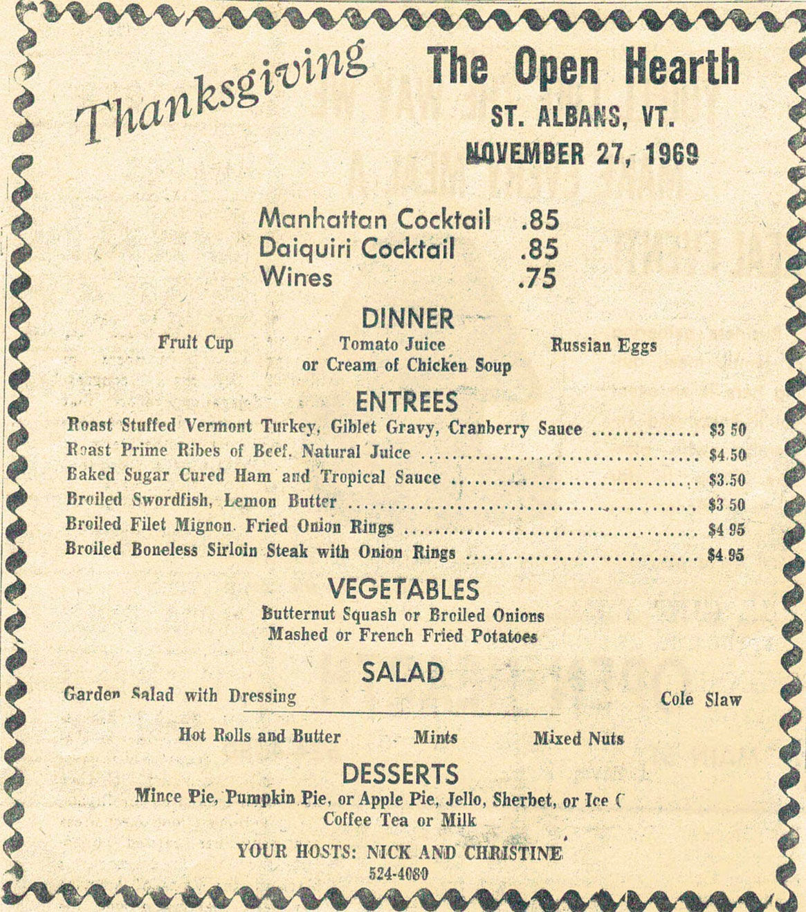 Thanksgiving menu at the Open Hearth Restaurant