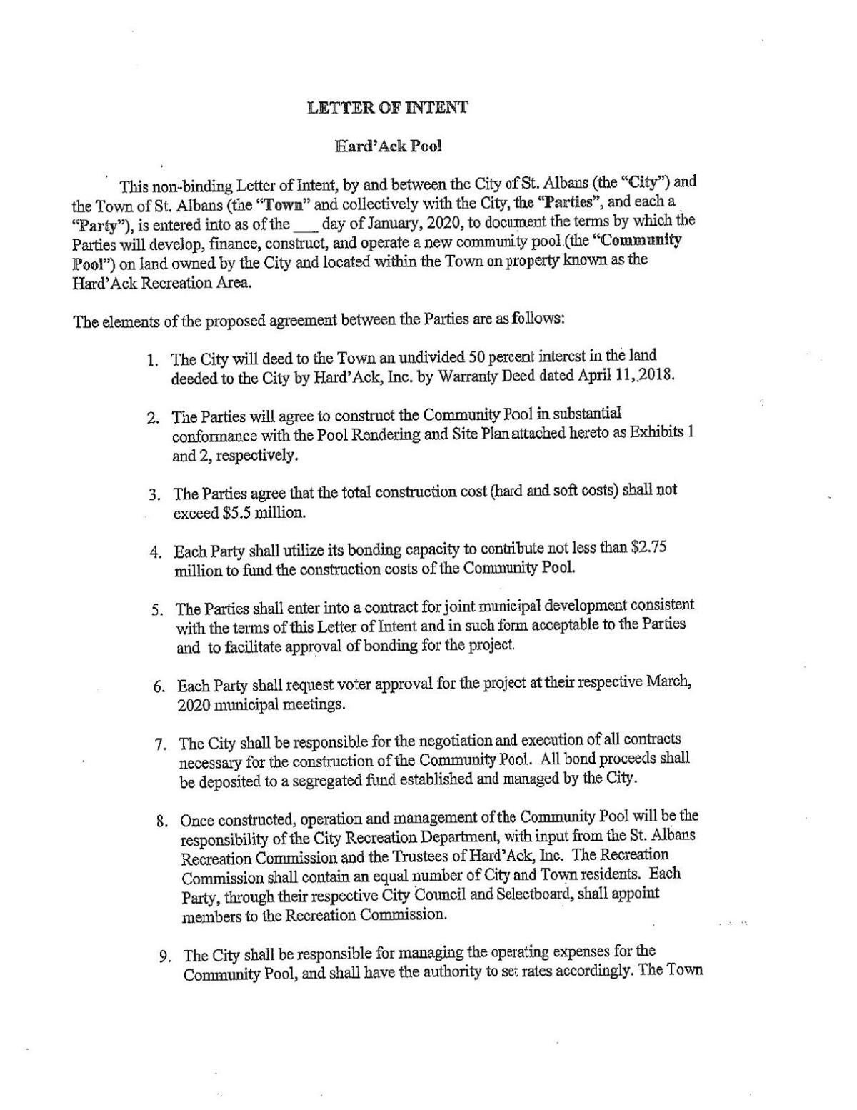 St. Albans City/Town - Letter of Intent - Page 1