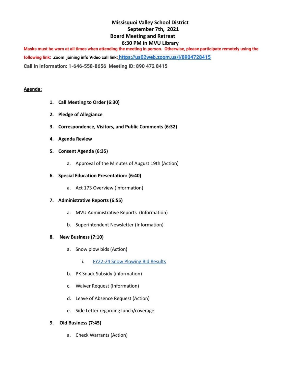 MVSD Sent. 7 Agenda