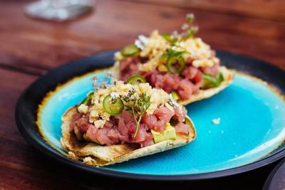 Eat This: Ahi Tuna and Chicharron Tostadas at Traslomita