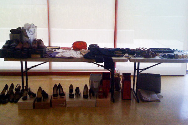 An awesome accessories table in the second-floor staging area at the Museum of Contemporary Art's downtown location.