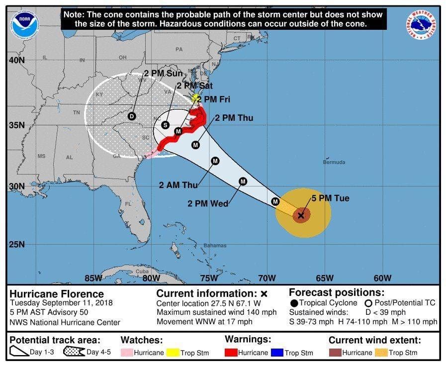 WAITING ON THE STORM: Hurricane Florence continues trek toward North Carolina
