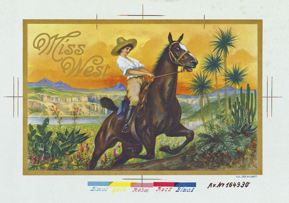 miss west cigar box label from the loy glenn westfall collection at the fray anglico chvez history library