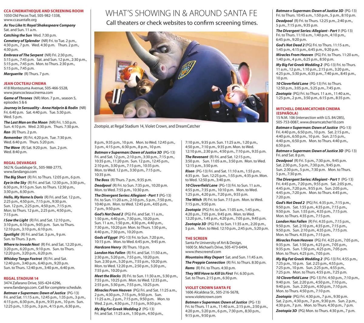 April 1 7 Show Times Chile Reviews Santafenewmexicancom