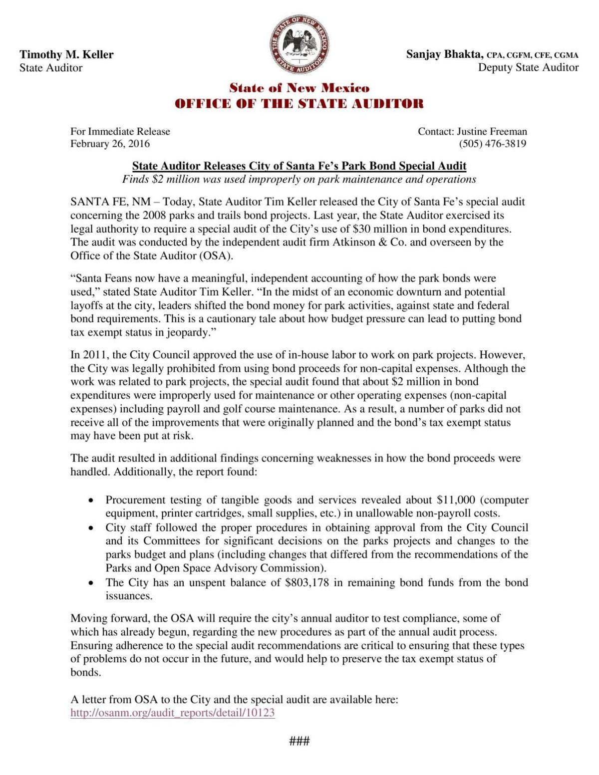 State auditor report | | santafenewmexican com