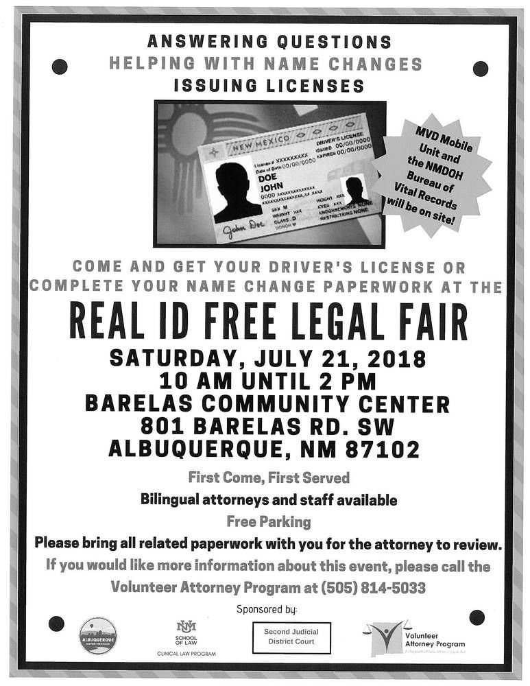 Real ID Free Legal Fair Will Help People Safely My View - Help with legal paperwork