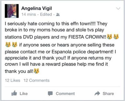 Burglars make off with Española Valley Fiesta queen's decades-old crown