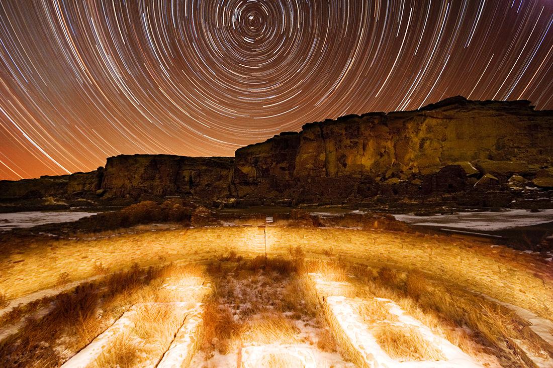 Pueblo Bonito at night
