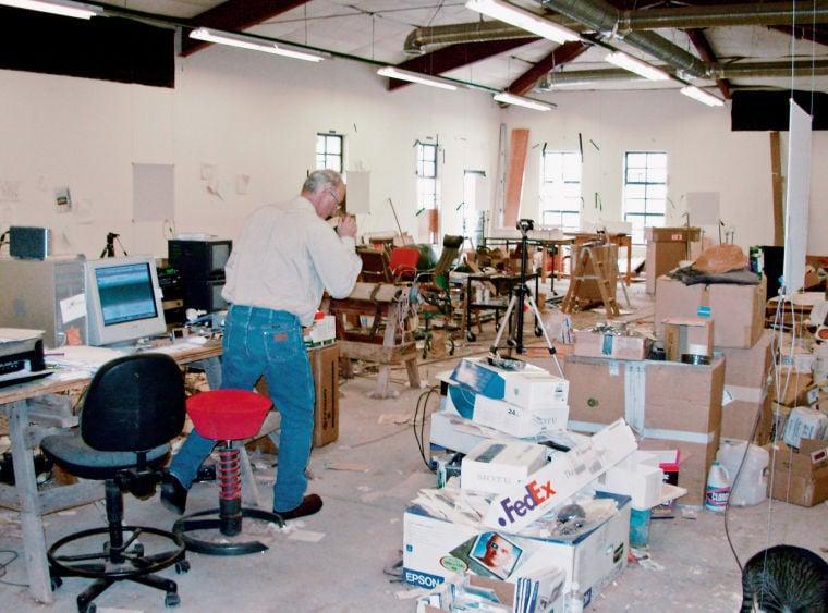 Bruce Nauman in his studio