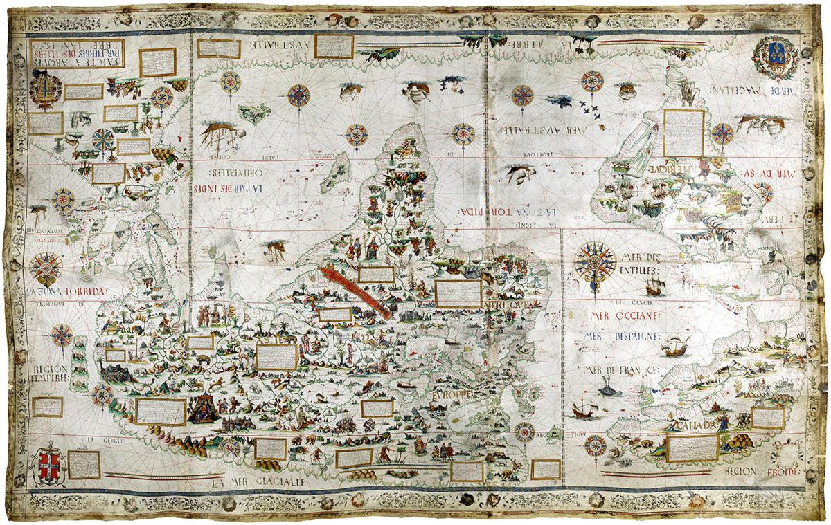 manuscript world map produced by pierre descelier in 1550 courtesy the british library