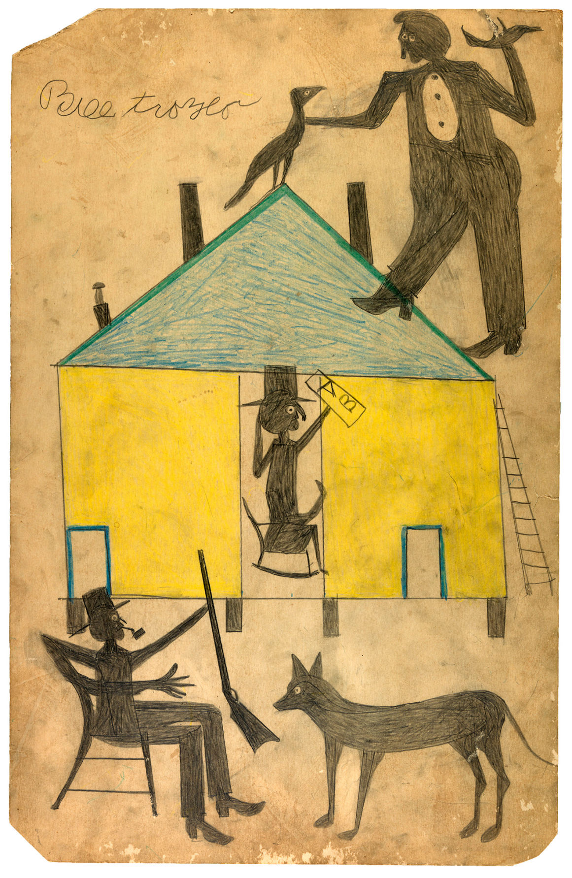 Bill Traylor Yellow and Blue House with Figures and Dog