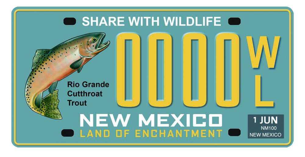 newest n.m. license plate, featuring state fish, to help fund share