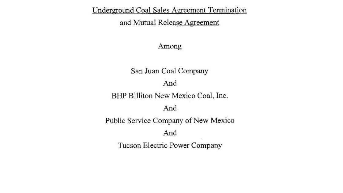 Underground Coal Sales Agreement Termination And Mutual Release