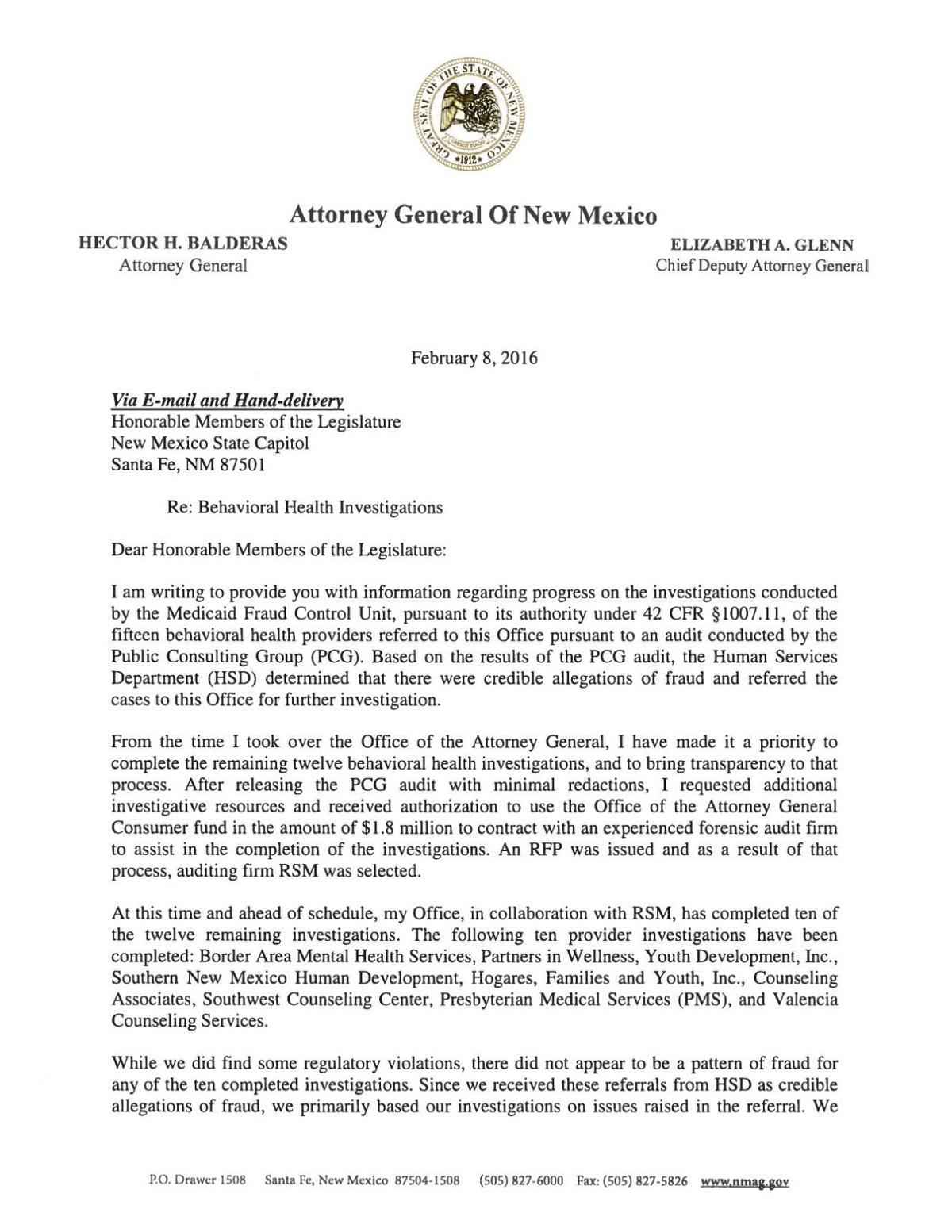 ag letter to legislators regarding behavioral health investigations