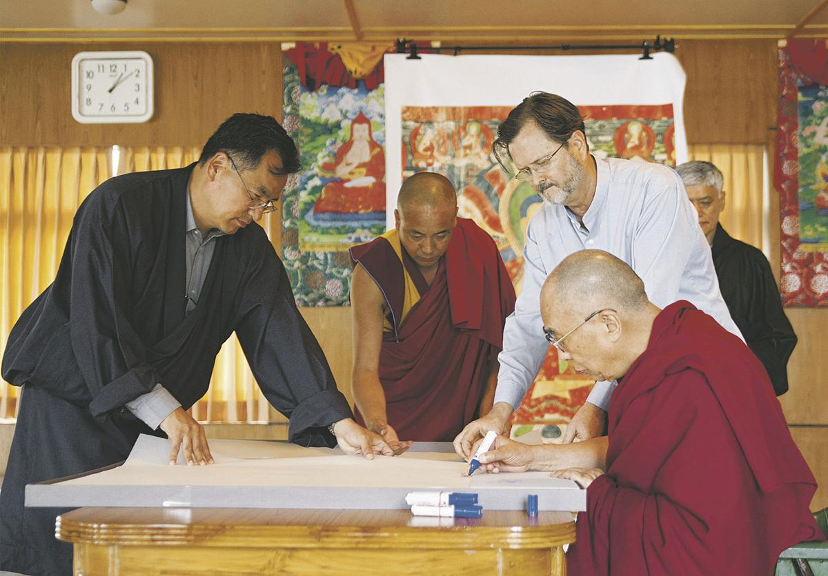 Dalai Lama signing Murals of Tibet with Thomas Laird- Taschen Books- Form and Concept Gallery- Santa Fe New Mexico
