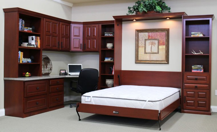 Murphy beds make a multipurpose room a guest room home for Wrap around desk plans