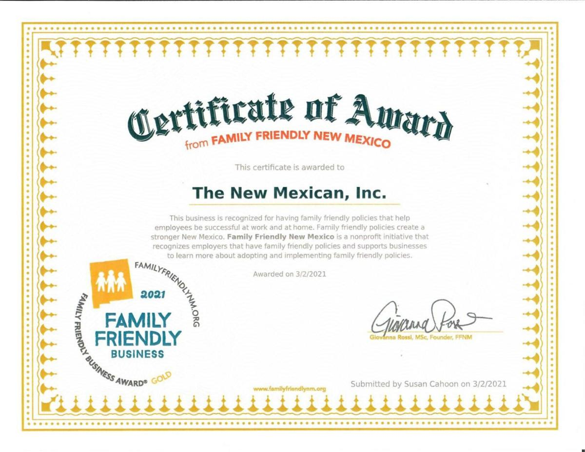 Family Friendly New Mexico Certificate