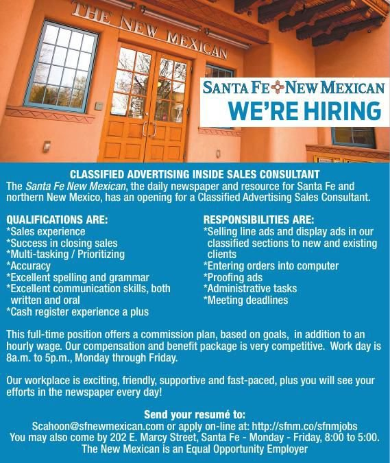 Inside Classified Sales Associate Needed