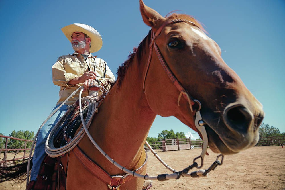 U.S. Army veteran Brian Ray was sitting tall in the saddle of a palomino  quarter horse at the Crossed Arrows Ranch south of Santa Fe. 38bc9e52bef