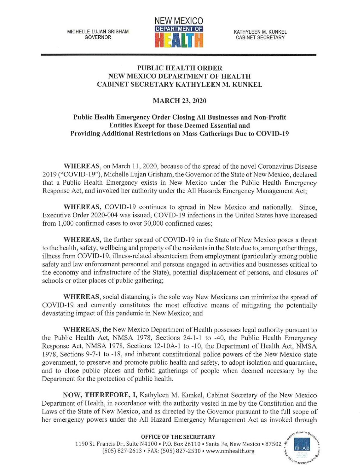 Closing all nonessential businesses and nonprofit entities and providing additional restrictions on mass gatherings - March 23, 2020
