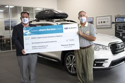 Peacock Subaru Share the Love Check Presentation to Greater Bluffton Jasper County Volunteers in Medicine 2020.jpg