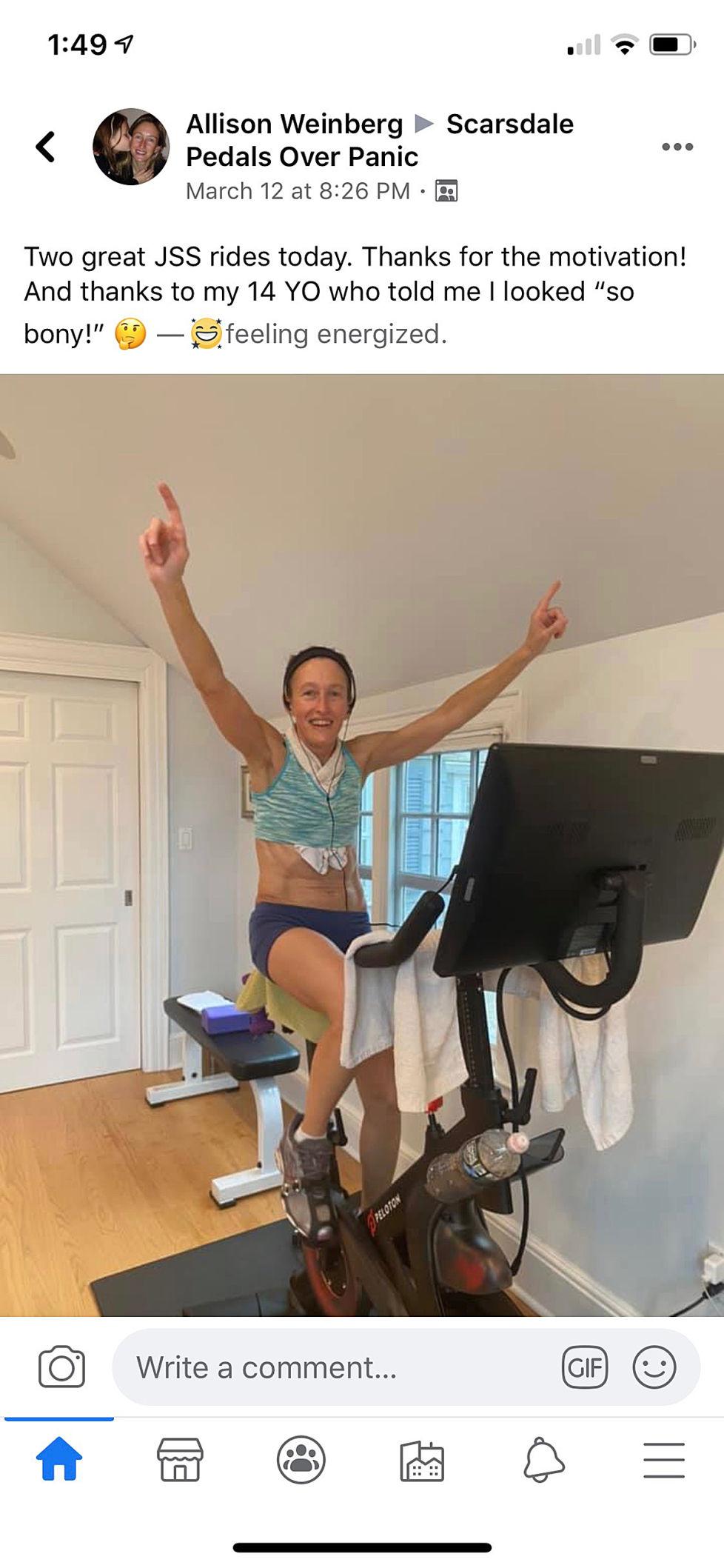 LS Peloton group pedals over panic Allison Weinberg.jpeg
